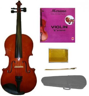 Merano 1/16 Size Acoustic Student Violin with Hard Case and Bow+Free Rosin+Extra E String