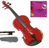 Merano 1/16 Size Acoustic Red Violin with Hard Case and Bow+Free Rosin+Extra E String
