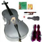 Merano 4/4 Size GREY Cello with Hard Case+Soft Bag+Bow+2 Sets Strings+Tuner+Rosin