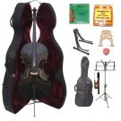 Merano 3/4 Size Black Cello, Hard Case,Soft Bag,Bow,2 Sets Strings,2 Bridges,Tuner,Rosin,2 Stands