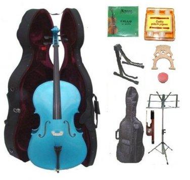 Merano 4/4 Size Blue Cello, Hard Case,Soft Bag,Bow,2 Sets Strings,2 Bridges,Tuner,Rosin,2 Stands