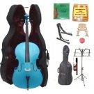 Merano 1/4 Size Blue Cello, Hard Case,Soft Bag,Bow,2 Sets Strings,2 Bridges,Tuner,Rosin,2 Stands