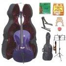Merano 3/4 Size Purple Cello, Hard Case,Soft Bag,Bow,2 Sets Strings,2 Bridges,Tuner,Rosin,2 Stands