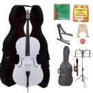 Merano 1/4 Size White Cello, Hard Case,Soft Bag,Bow,2 Sets Strings,2 Bridges,Tuner,Rosin,2 Stands
