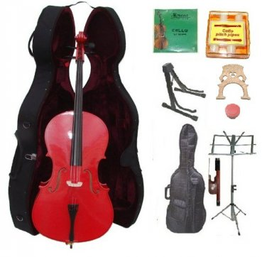 Merano 3/4 Size Red Cello, Hard Case,Soft Bag,Bow,2 Sets Strings,2 Bridges,Tuner,Rosin,2 Stands