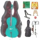 Merano 4/4 Size Green Cello, Hard Case,Soft Bag,Bow,2 Sets Strings,2 Bridges,Tuner,Rosin,2 Stands