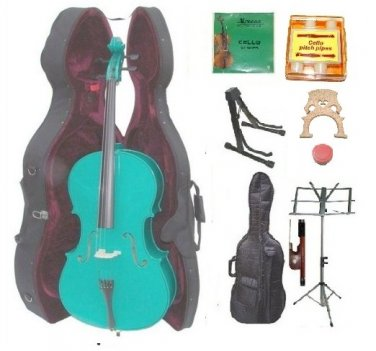 Merano 3/4 Size Green Cello, Hard Case,Soft Bag,Bow,2 Sets Strings,2 Bridges,Tuner,Rosin,2 Stands