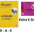 Merano 1/8 - 1/16 Size Violin String Set (G-D-A-E) + Extra E String ~ Beginner, Student, Replacement
