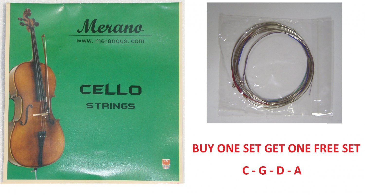 Merano 1/8, 1/10 CELLO String Set (C-G-D-A )+Buy One Get One FREE~Beginner,Student,Replacement
