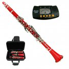 MERANO RED ABS CLARINET WITH CASE, METRO TUNER