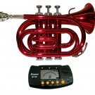 MERANO RED LACQUER POCKET TRUMPET WITH CASE
