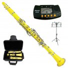 MERANO YELLOW CLARINET WITH CASE,11 REEDS, METRO TUNER, MUSIC STAND