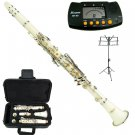MERANO WHITE CLARINET WITH CASE,11 REEDS, METRO TUNER, MUSIC STAND