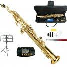 MERANO B Flat Gold Soprano Saxophone with Case,Music Stand,Metro Tuner