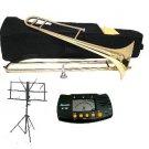 MERANO B Flat Gold Slide Trombone with Case,Metro Tuner,Music Stand