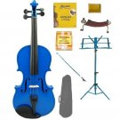 Merano 4/4 Size Blue Violin with Matching Color Bow, Music Stand