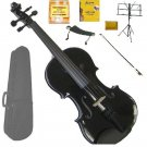 Merano 4/4 Size Black Violin with Matching Color Bow, Music Stand