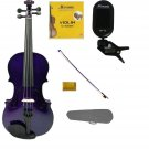 3/4 Size Purple Violin,Purple Bow,Case+Rosin+2Sets of Strings+Clip On Tuner