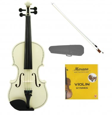 3/4 Size White Acoustic Violin,Case,Bow+Rosin+2 Sets of Strings