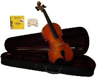1/16 Size Natural Acoustic Violin,Case,Bow+Rosin+2 Sets of Strings+2 Bridges