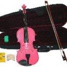 Merano 1/2 Size Pink Acoustic Violin,Case,Bow+Rosin+2 Sets of Strings+2 Bridges