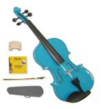 Merano 1/2 Size Blue Acoustic Violin,Case,Bow+Rosin+2 Sets of Strings+2 Bridges