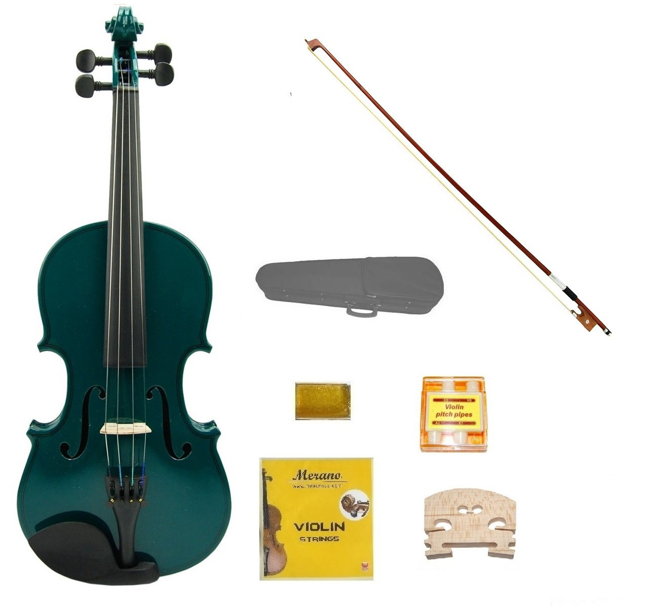Merano 1/8 Size Green Acoustic Violin,Case,Bow+Rosin+2 Sets of Strings+2 Bridges+Pitch Pipe