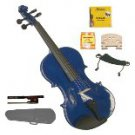Merano 4/4 Size Blue Violin,Case,Bow+Rosin+2 Sets Strings+2 Bridges+Tuner+Shoulder Rest