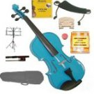 Merano 3/4 Size Blue Violin,Case,Bow+Rosin+2 Sets Strings+2 Bridges+Tuner+Shoulder Rest+Music Stand