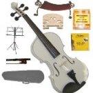 Merano 1/4 Size White Violin,Case,Bow+Rosin+2Sets Strings+2 Bridges+Tuner+Shoulder Rest+Music Stand