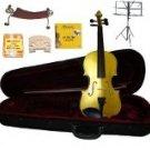 Merano 1/8 Size Gold Violin,Case,Bow+Rosin+2Sets Strings+2 Bridges+Tuner+Shoulder Rest+Music Stand