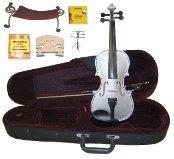 Merano 3/4 Size Silver Violin,Case,Bow+Rosin+2Sets Strings+2 Bridges+Tuner+Shoulder Rest+Music Stand