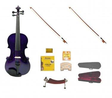 Merano 1/8 Size Purple Violin,Case,2 Bows+Rosin+2 Sets of Strings+2 Bridges+Tuner+Shoulder Rest