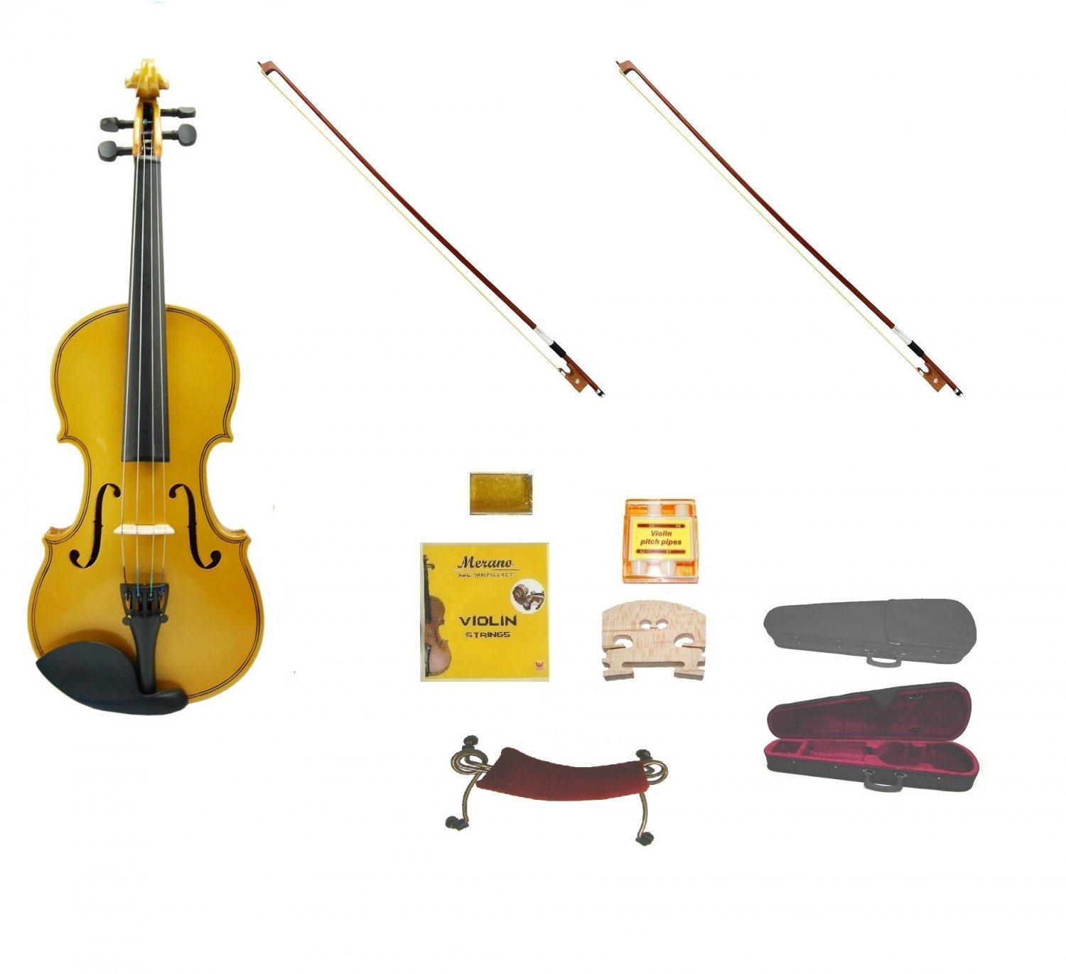Merano 1/2 Size Gold Violin,Case,2 Bows+Rosin+2 Sets of Strings+2 Bridges+Tuner+Shoulder Rest