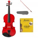 1/10 Size Red Acoustic Violin, Red Bow+Case+Bridge+Rosin+2 Sets of Strings