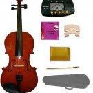 3/4 Size Natural Acoustic Violin,Case,Bow+Rosin+Extra E String+2 Bridges+Metro Tuner