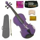 1/10 Size Purple Acoustic Violin,Case,Bow+Rosin+Extra E String+2 Bridges+Metro Tuner