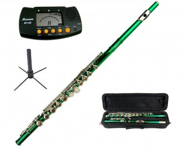 MERANO GREEN LACQUER PLATED FLUTE WITH CASE + Free Stand+Metro Tuner
