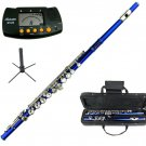 MERANO BLUE LACQUER PLATED FLUTE WITH CASE + Free Stand+Metro Tuner