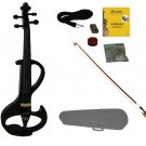 4/4 Size BLACK Ebony Fitted Electric Silent Violin with Case and Bow - Style II