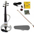 4/4 Size WHITE Ebony Fitted Electric Silent Violin with Case and Bow - Style II