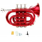 Merano B Flat Red Brass Pocket Trumpet,Case+Mouth Piece;Valve oil;Gloves;Cloth+Stand