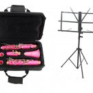MERANO B Flat PINK Clarinet with Zippered Carrying Case+Music Stand