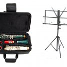 MERANO B Flat RED-WHITE-GREEN Clarinet with Zippered Carrying Case+Music Stand