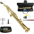 MERANO B Flat Gold Soprano Saxophone with Case,Soprano Saxophone Stand,Metro Tuner,Music Stand