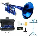 Merano B Flat Blue Trumpet,Case+Mouth Piece+Valve Oil+Metro Tuner+Blue Music Stand+Trumpet Stand