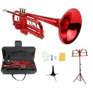 Merano B Flat Red Trumpet,Case+Mouth Piece+Valve Oil+Red Music Stand+Trumpet Stand