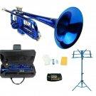 Merano B Flat Blue Trumpet,Case+Mouth Piece+Valve Oil+Blue Music Stand+Metro Tuner