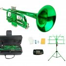 Merano B Flat Green Trumpet,Case+Mouth Piece+Valve Oil+Green Music Stand+Metro Tuner