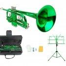 Merano B Flat Green Trumpet,Case+Mouth Piece+Valve Oil+Green Music Stand